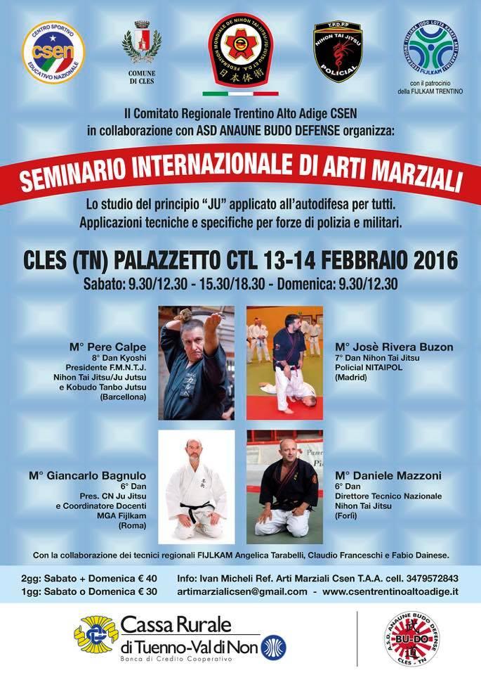 Seminario Internazionale di Arti Marziali Cles 13-14.02.2016