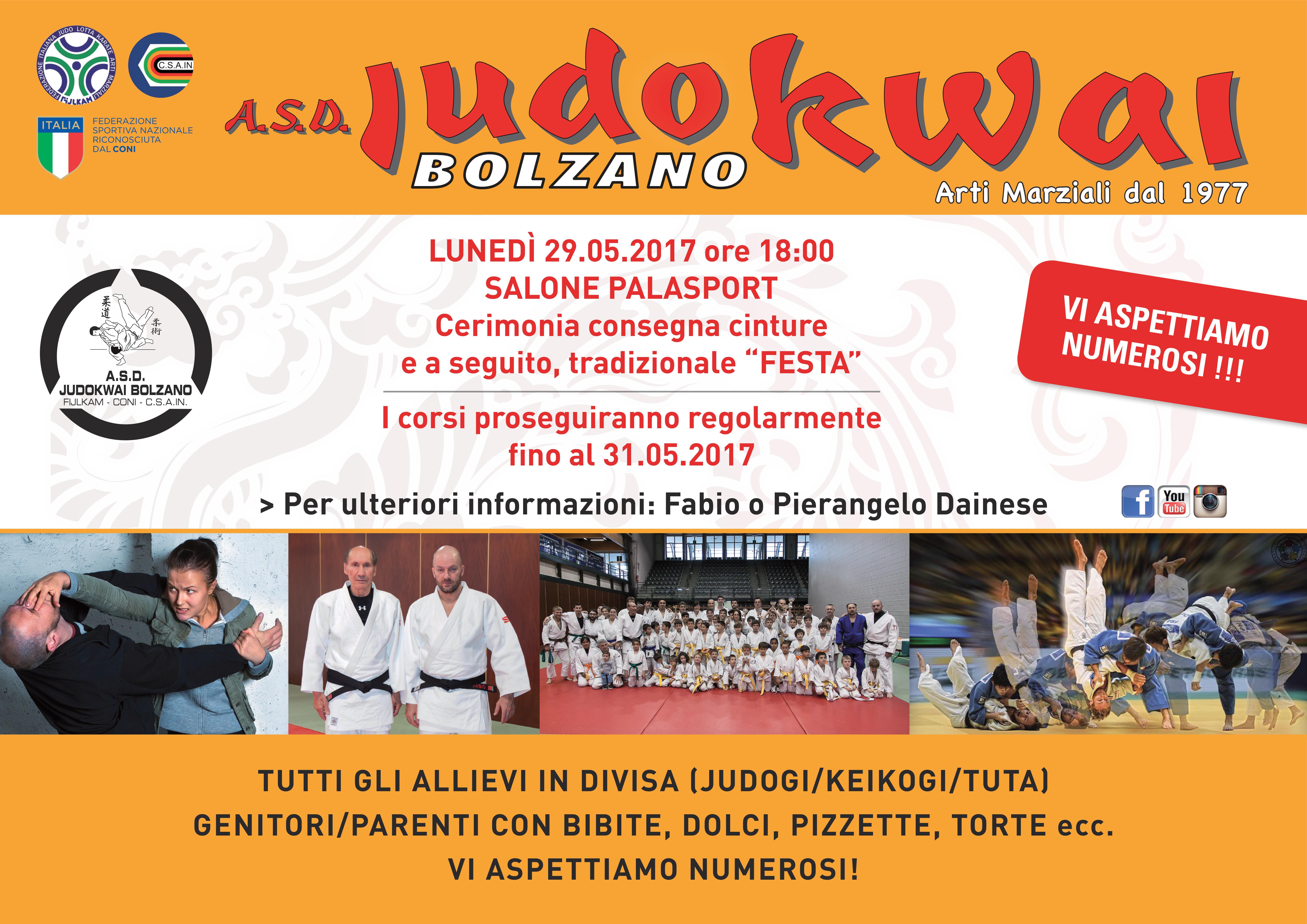 A.S.D. Judokwai Bolzano   Cerimonia consegna Cinture 2016_2017 e tradizionale Festa