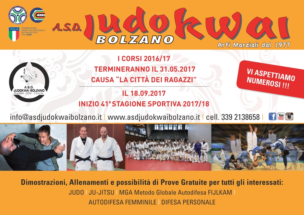 A.S.D. Judokwai Bolzano   Fine Corsi 40° Stagione sporttiva 2016_2017 e Corsi 41° Stagione sportiva 2017_2018