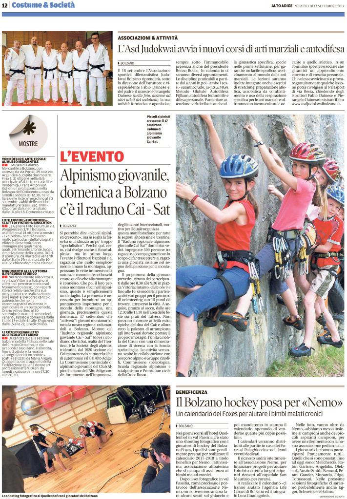A.S.D. Judokwai Bolzano   Quotidiano Alto Adige 13.09.2017   pag. 12