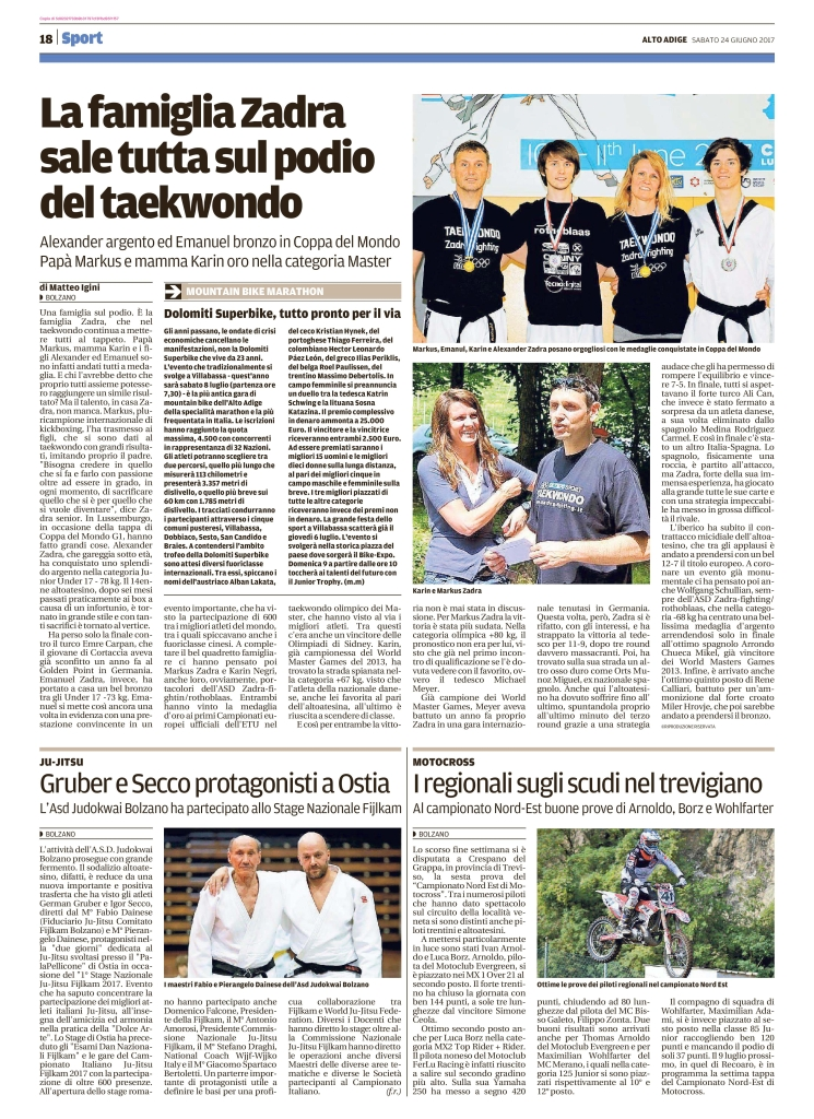 Quotidiano Alto Adige 24.06.2017 pag. 18