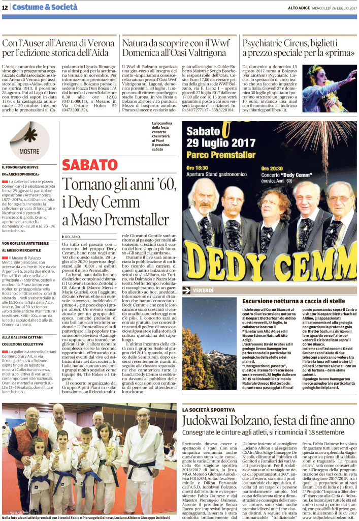 Quotidiano Alto Adige 26.07.2017 pag. 12