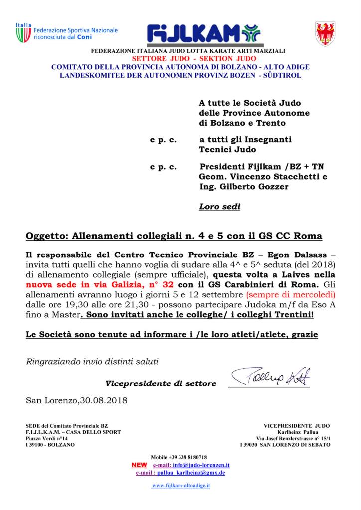 2 allenamenti collegiali a Laives 5 e 12 sett. 2018