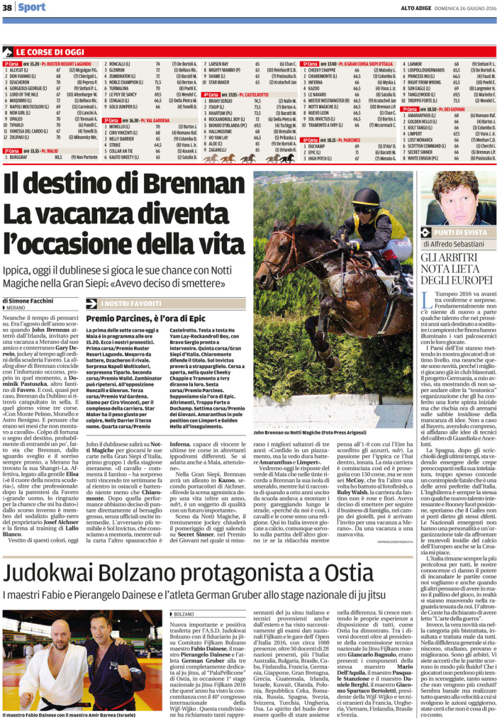 Quotidiano Alto Adige - 26.06.2016 - pag. 38 -