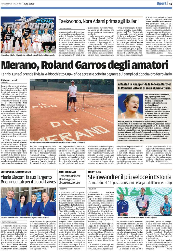 Quotidiano Alto Adige 20.07.2016_ pag. 45