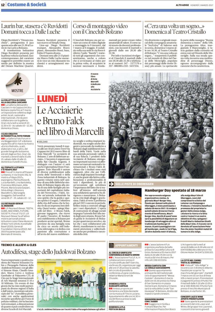 Quotidiano Alto Adige 03.03.2017 - pag. 12