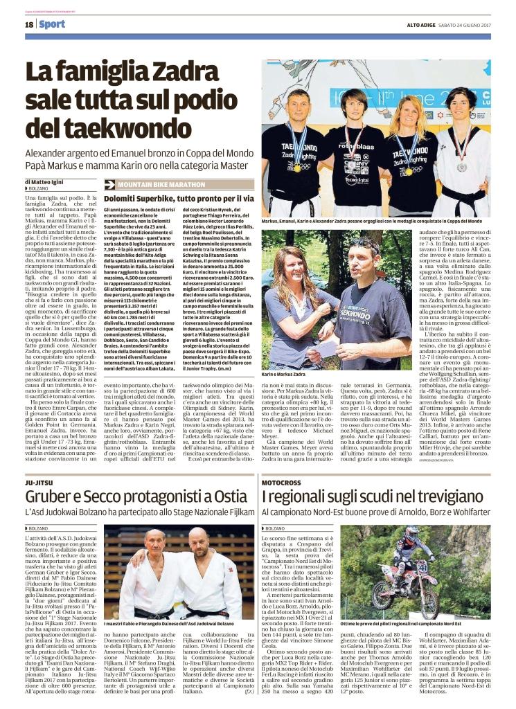 Quotidiano Alto Adige 24.06.2017 pag. 18