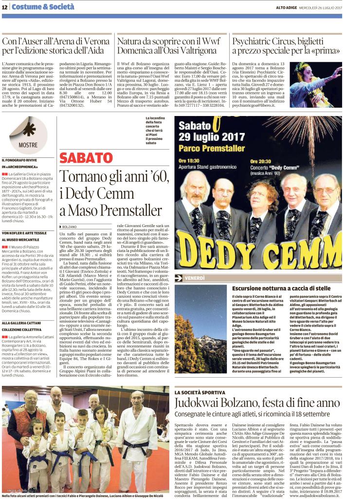 Quotidiano Alto Adige 26.07.2017 pag. 12