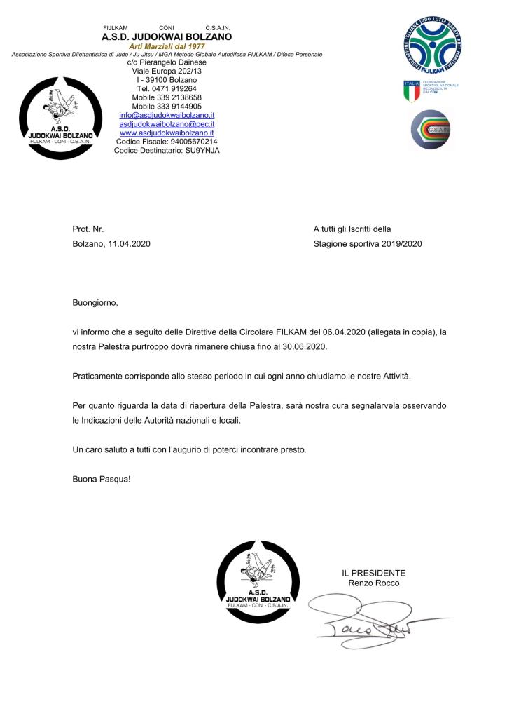 Chiusura A.S.D. Judokwai Bolzano fino al 30.06.2020-1