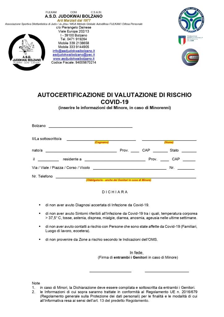 Autocertificazione di valutazione di rischio Covid-19   A.S.D. Judokwai Bolzano_page-0001