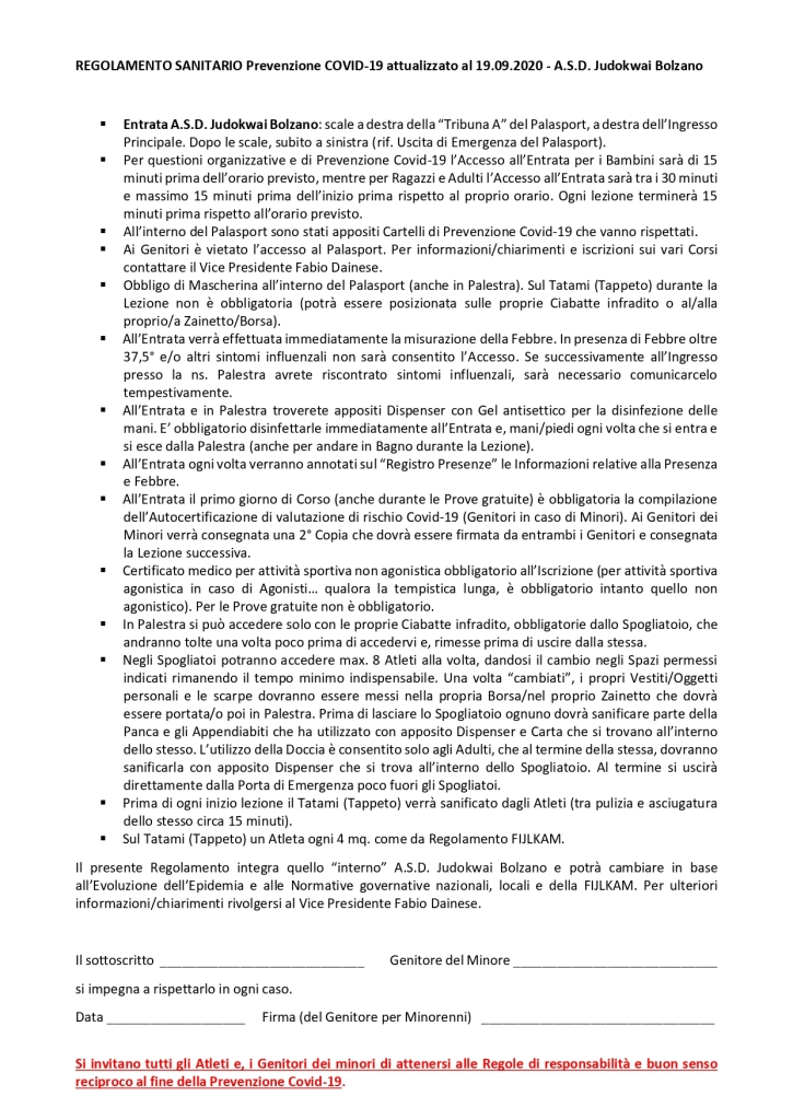 REGOLAMENTO SANITARIO   Prevenzione COVID-19   A.S.D. Judokwai Bolzano_page-0001