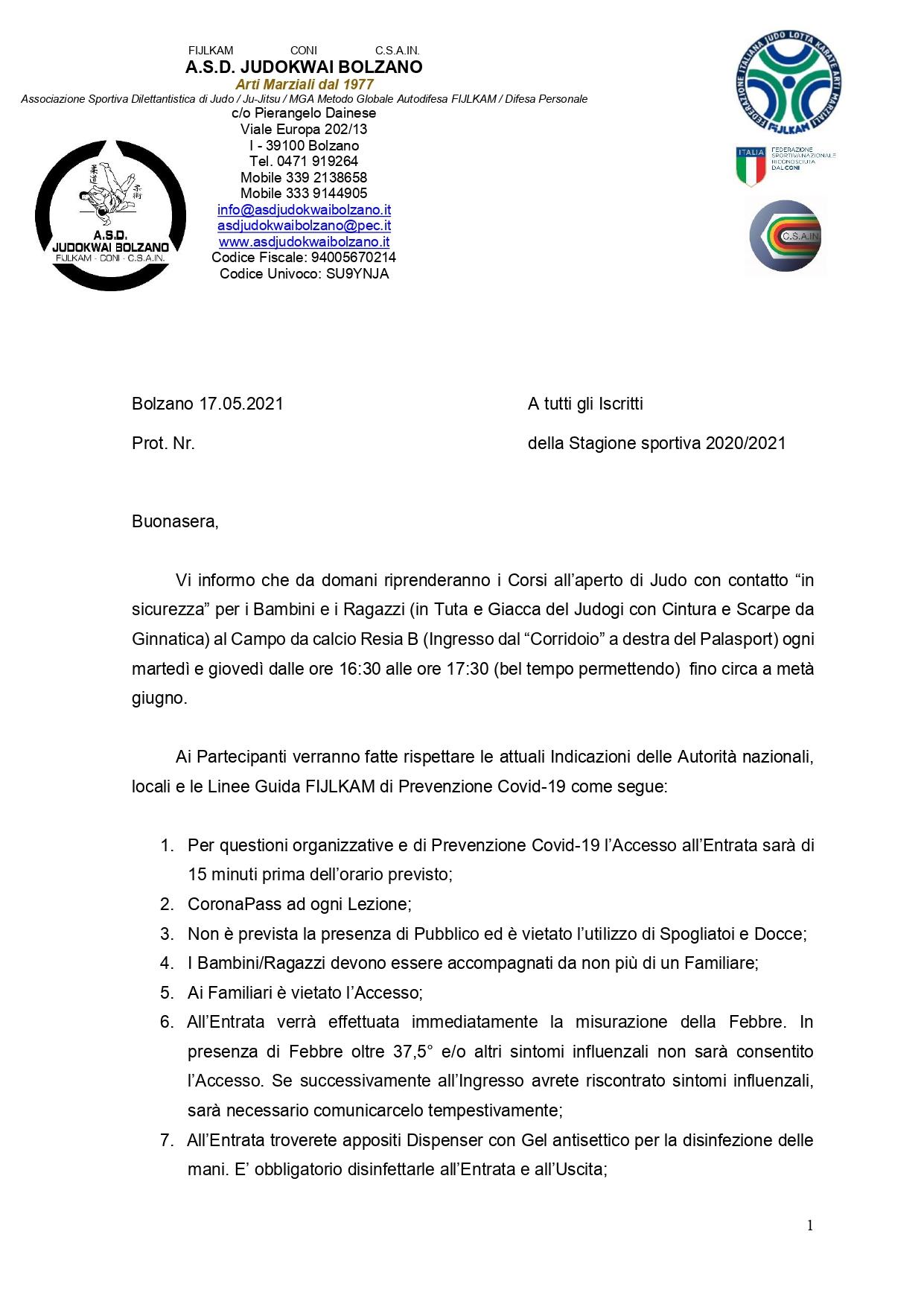 A.S.D. Judokwai Bolzano   Ripresa Corsi 44° Stagione sportiva 2020 2021 di Judo con contatto in sicurezza per Bambini e Ragzzi   Campo da calcio Resia B   dal 18.05.2021_page-0001