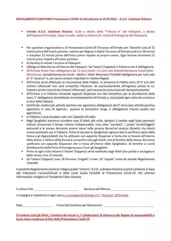 REGOLAMENTO SANITARIO A.S.D. Judokwai Bolzano   Prevenzione Covid-19       2021 2022